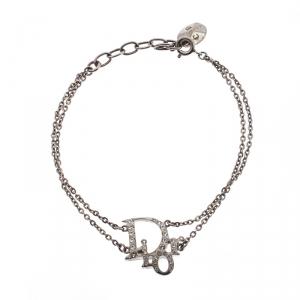 Dior Crystal Embellished Logo Silver Tone Bracelet