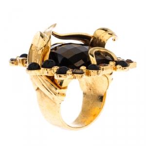 Dior Gold Tone Smoky Quartz Crystal Cocktail Ring 58