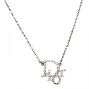 Dior Silver Tone Crystal Accented Logo Pendant Necklace
