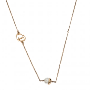 Dior Mise en Dior Faux Pearl Gold Tone Necklace