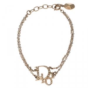 Dior Oblique Crystal Layered Gold Tone Bracelet 20 cm
