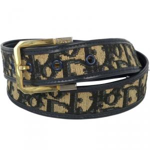 Dior Black/Brown Leather Cotton Trotter Pattern Belt