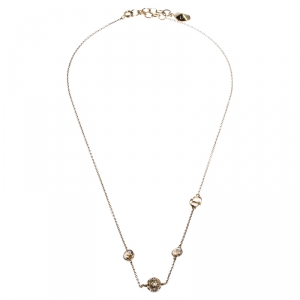Dior Gold Tone Stone Embellished Necklace