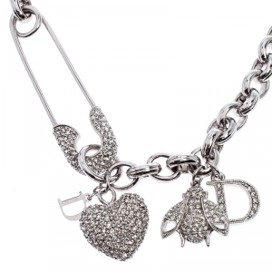 Dior Silver Tone Crystal Embellished Charm Necklace