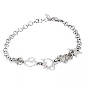 Dior Multi Charm Crystal Silver Tone Bracelet