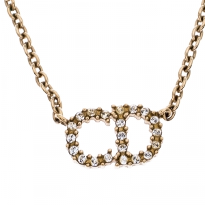 Dior CD Logo Crystal Gold Tone Necklace