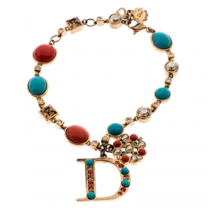 Dior Coral and Turquoise Cabochon Gold Tone Crystal Bracelet