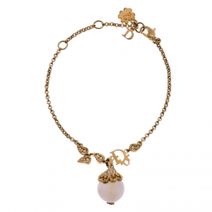 Dior Gold Tone Crystal Tumbled Rose Quartz Pendant Bracelet