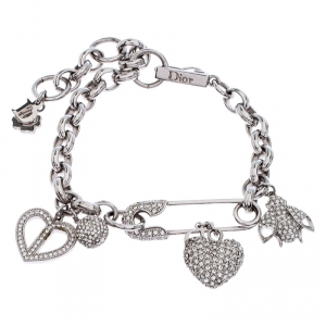 Dior Iconic Multi Charm Crystal Silver Tone Bracelet