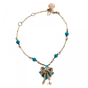 Dior Blue Stone Crystal Antique Gold Tone Bracelet