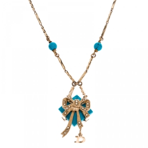 Dior Blue Stone Crystal Antique Gold Tone Necklace