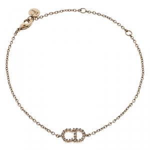 Dior Gold Tone Crystal Logo Embellished Bracelet