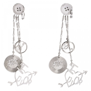 Dior Logo Charm Silver Tone Tassel Clip-on Long Earrings