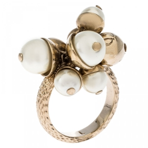 Dior Mise en Dior Faux Pearl Gold Tone Ring Size 55