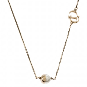 Dior Mise en Dior Faux Pearl Gold Tone Necklace