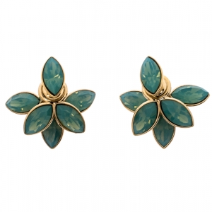 Dior Tribale Turquoise Crystal Flower Gold Tone Stud Earrings