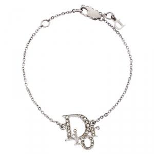 Dior Logo Crystal Studded Silver Tone Bracelet