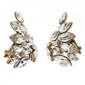 Dior Crystal Gold Tone Clip-on Stud Earrings