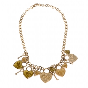 Dior Crystal Heart and Key Charm Gold Tone Choker Necklace