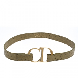 Dior Olive Green Ostrich Embossed Leather CD Buckle Belt 75CM
