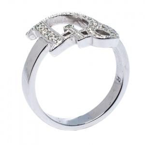 Dior Silver Tone Crystal Logo Ring Size EU 57