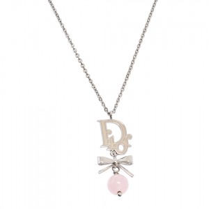 Dior Logo Bow Enamel Silver Tone Pendant Necklace