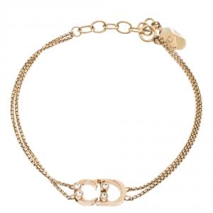 Dior CD Logo Crystal Gold Tone Bracelet