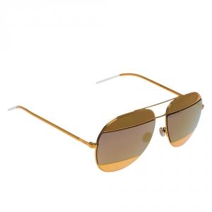 DIor Gold/Blue Gold Mirrored 1VTSQ Split 1 Aviator Sunglasses