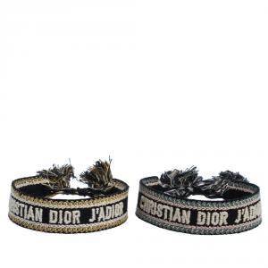 Dior J'adior Multicolor Woven Cotton Set of Two Adjustable Tassel Bracelets