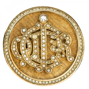 Dior Logo Crystal Textured Gold Tone Round Pin Brooch