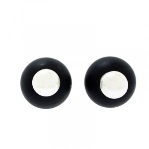Dior Tribales Black Resin Faux Pearl Silver Tone Stud Earrings
