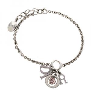 Dior Crytsal Multi Charm Silver Tone Bracelet