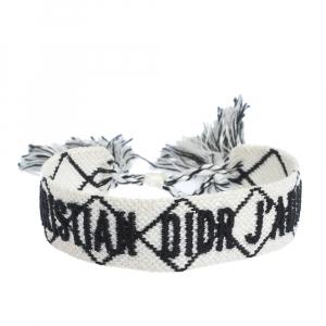Dior J'adior White & Black Woven Fabric Adjustable Tassel Bracelet