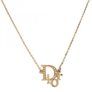Dior Oblique Crystal Gold Tone Necklace