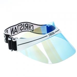 Dior White/Blue Mirrored Dior Club1 Sun Visor