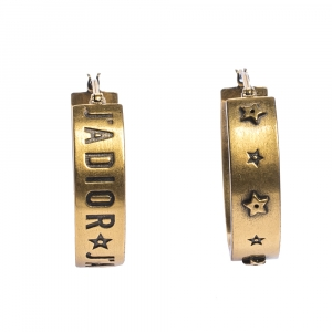 Dior J'Adior Asymmetric Patterned Gold Tone Hoop Earrings