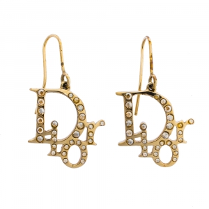 Dior Pale Gold Tone Crystal Oblique Hook Earrings