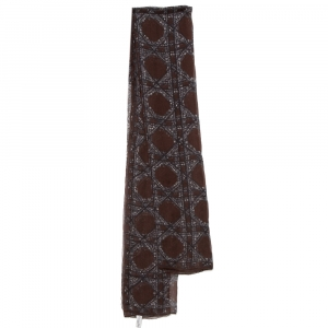 Dior Brown Cannage Print Silk Scarf