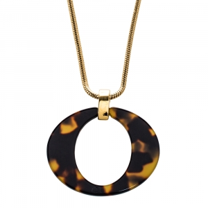 Dior Vintage Tortoishell Effect Signature O Pendant Necklace