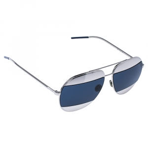Dior Palladium Tone/ Blue Mirrored 010KU Dior Split1 Aviator Sunglasses
