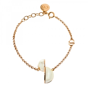 Dior CD Motif Faux Pearl Gold Tone Chain Link Bracelet