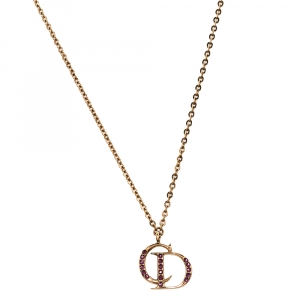 Dior Gold Tone Crystal CD Charm Necklace