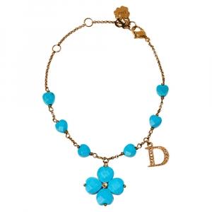 Dior Turquoise Bead Clover Pendant Bracelet