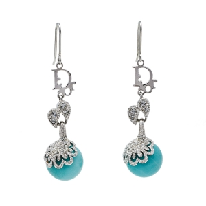 Dior Silver Tone Crystal Turquoise Bead Drop Hook Earrings