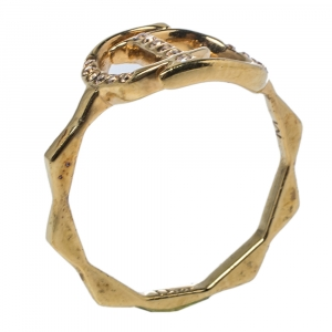 Dior Gold Tone Crystal Embedded Logo Ring M