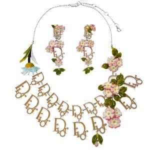 Dior Oblique Enamel Floral Motif Necklace & Clip On Earring Set