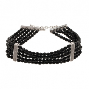 Dior Vintage Black Beads 5 Rows Choker Necklace