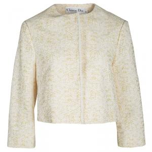 Dior Yellow Textured Frayed Placket Detail Button Front Cropped Jacket S
