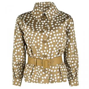 Dior Brown Polka Dotted Silk Calfskin Leather Belt Detail Tailored Jacket S