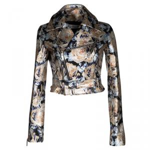 Dior Metallic Floral Painted Lambskin Leather Biker Jacket S